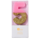 Pink Number 5 Candle
